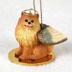 Pomeranian (red) Dog Angel Figurine Gold Pomeranian