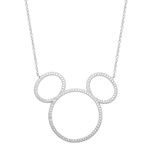 Disney Jewelry, Mickey Mouse Sterling Silver Cubic Zirconia Silhouette Necklace, Mickey's 90th Birthday Anniversary