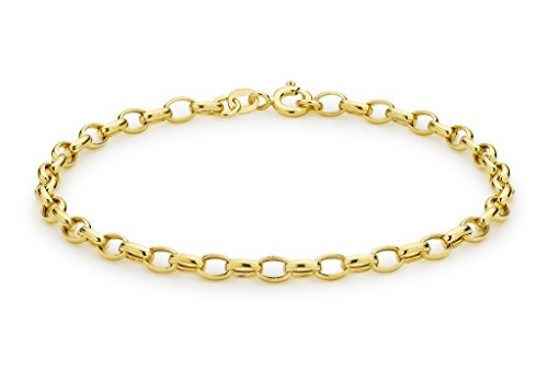 9ct or jaune creux ovale Belcher Bracelet 19cm/7.5'