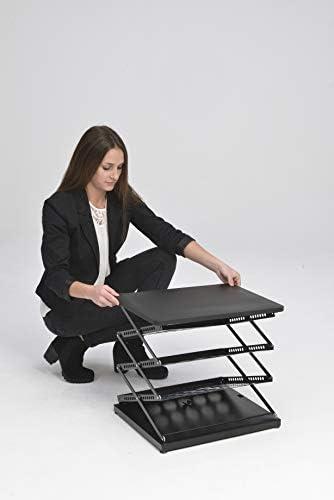 Stehpult Prospektständer schwarz Mobile Falttheke aus Metall mit 3 Ablagefächern