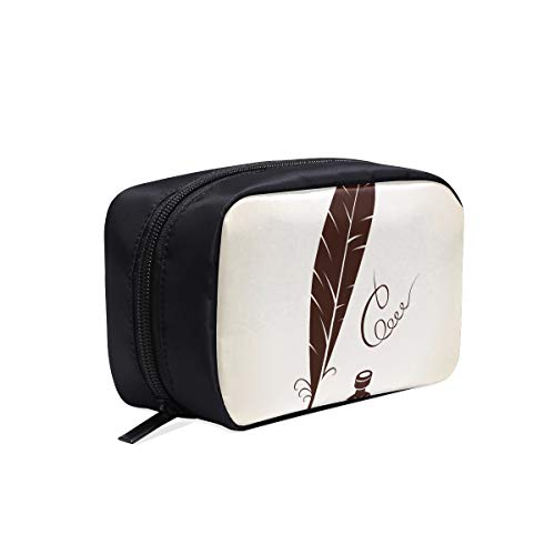 Feather Pen And Ink Portable Travel Makeup Cosmetic Bags Organizer Multifunction Case Small Toiletry Bags For Women And Men Brushes Case