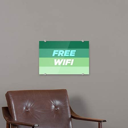 CGSignLab 8x3 Free WiFi Stripes Gray Premium Brushed Aluminum Sign