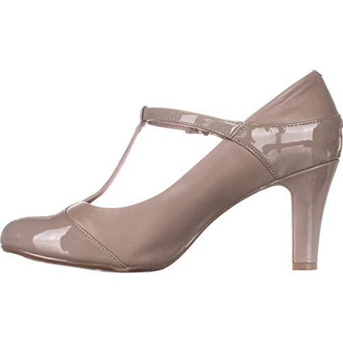 (Giani Bernini Womens Vineza Leather Cap Toe T-Strap Mary, Mushroom, Size 7.5)