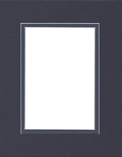 Pack of (2) 16x20 Double Acid Free White Core Picture Mats Cut for 12x16 Pictures in Navy Blue and Baltic Blue