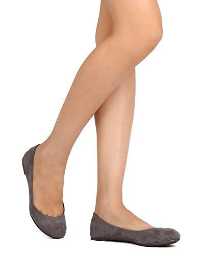 Breckelles FH40 Women Faux Suede Round Toe Ballet Flat Grey 4DJ5Cn