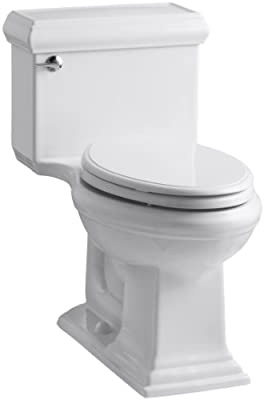 KOHLER K-3812-0 Memoirs Comfort Height One-Piece Elongated 1.28 gpf Toilet with Classic Design, White