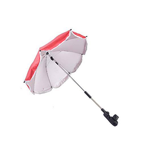 "Price comparison product image Umbrella 31.5"" Universal Flexible Foldable Baby Wheelchair Parasol for Any Pram Stroller UV Sun Protection from Sun Rain, Red"