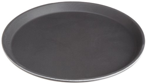 Stanton Trading Non Skid Rubber Lined 14-Inch Plastic Round Economy Serving Tray, Black (Martini Tray)