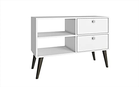 Manhattan Comfort Dalarna Series Long Tabletop TV Stand Console with Open Shelf Design and 2 Drawers, (Left Behind On Blu Ray)