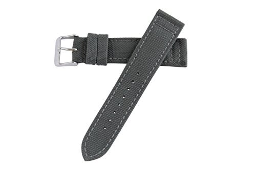20mm Gray Genuine Cordura Hadley Roma Padded Stitched Watch Band Strap MS850