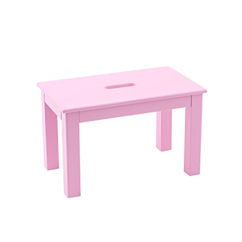 Max & Lily Natural Wood Kid and Toddler Bench with Hand Hole, Pink For Sale
