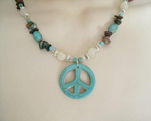 Turquoise Peace Sign Necklace, handmade jewelry boho bohemian hippie gypsy hipster new age metaphysical -