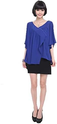 Angel&Lily irregular flounce loose chiffon blouse top plus 1x-10x