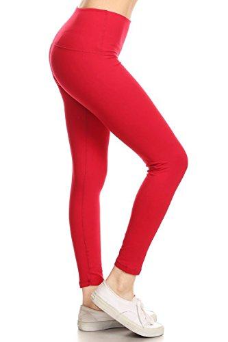 Leggings Depot Premium High Waisted Tummy Control Yoga Leggings with Hidden Pocket and Cotton Rib Leggings (Small, Red)