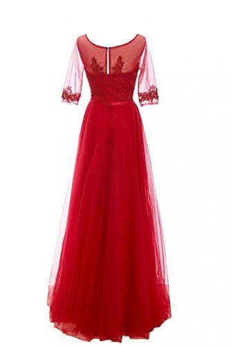 Schwarz Abendkleider Promkleider Durchsichtig Neuheit Damen Langarm A Spitze Rot Linie Partykleider Festlich Bodenlang Charmant qwAfOY8