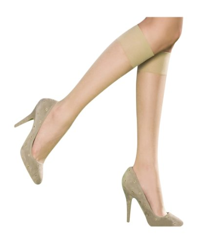 (Pretty Polly Women's 2 Pair Naturals 8 Denier Knee Highs One Size Barely There)