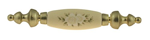 (Brass Plated With Ivory Floral Ceramic Drawer Pull Centers: 3