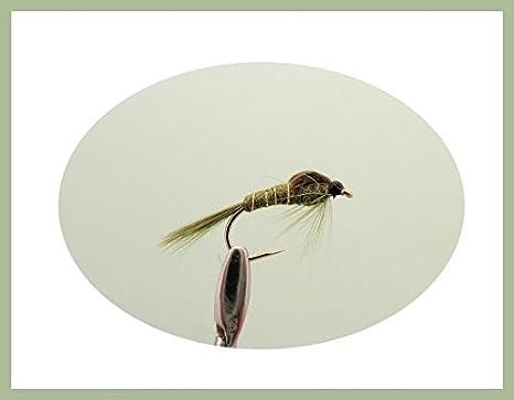 Mixtes 10//12//14//16 Troutflies UK Nymph Flies T/ête dor doreille de li/èvres Nymphe Truite P/êche Mouches Lot de 12