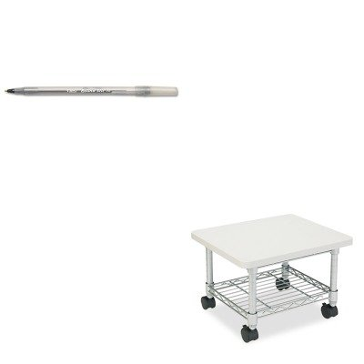 (KITBICGSM11BKSAF5206GR - Value Kit - Safco Underdesk Printer/Fax Stand (SAF5206GR) and BIC Round Stic Ballpoint Stick Pen (BICGSM11BK))
