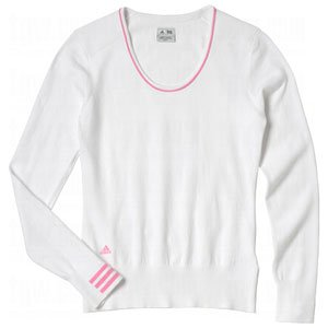 Adidas Taylormade Womens Performance 3 Stripe Sweater (Small (2), White/Peony)