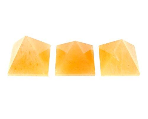 Yellow Aventurine Pyramid Reiki Healing Pyramid 3-pcs Set for Meditation Vastu Reiki by crystalshopindia