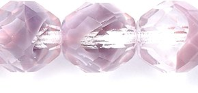 Preciosa Czech Fire 10mm Polished Glass Bead, Faceted Round, Two Tone Crystal/Lavender, 40-Pack