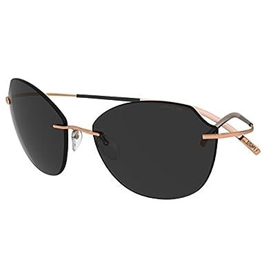 eb9d6fbd02 Silhouette Sunglasses Titan Minimal ART The Icon 8158 (rose gold shiny    polarized grey lenses