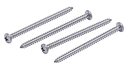 304 Stainless Steel Screws by Bolt Dropper 100pc #8 X 1 Stainless Pan Head Phillips Wood Screw, 18-8
