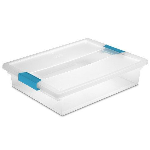 "Large Clip Plastic Storage Box for Stackable Storage, Clear with Blue Clips, 14"" x 11"" x 3.25"", 8-pack"