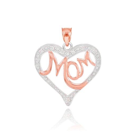 [14k Two-Tone White and Rose Gold Diamond Mom Love Script Charm Open Heart Pendant] (Mom Open Heart Charm)