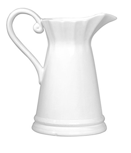 Established 98 20379 Scalloped Pitcher, White Antique White Scalloped