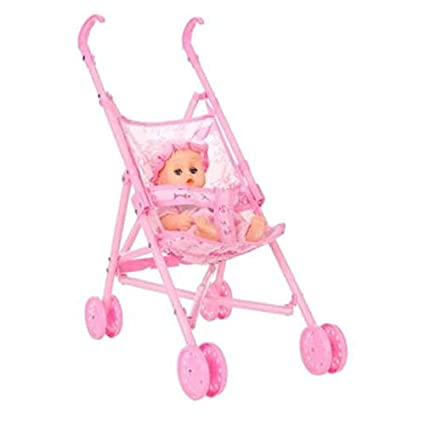 Sairis Baby Infant Doll Cochecito Carro Plegable con Muñeca para Muñeca Barbie de 12 Pulgadas Mini