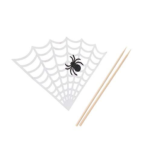 Amosfun 6Pcs Halloween Cupcake Topper Spider Web Cake