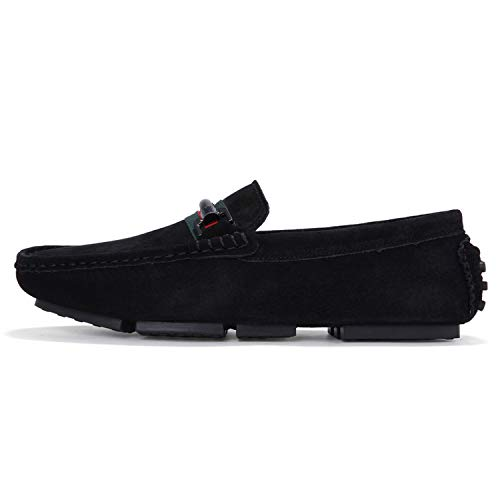 Glad You Came Men Casual Suede Leather Loafers Solid Leather Doug Shoe Moccasins Gommino Slip on Men Loafers Shoes for Driving,Black,7