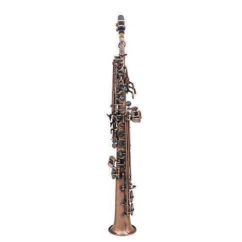 ammoon LADE Straight Bb Soprano Saxophone Sax Woodwind Instrument Abalone Shell Key Carve Pattern with Case Gloves Cleaning Cloth Straps Brush,Red Bronze,WSS-899 by ammoon (Image #1)