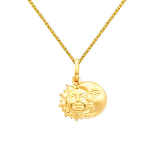 Wellingsale 14k Yellow Gold Polished Sun & Moon Charm Pendant with 0.9mm Braided Wheat Chain Necklace - 22