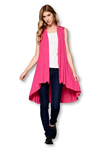 Sleeveless Long Solid Soft Bamboo Cardigan Vest Sweater for Women -Made in USA (X-Large, Hot Pink)