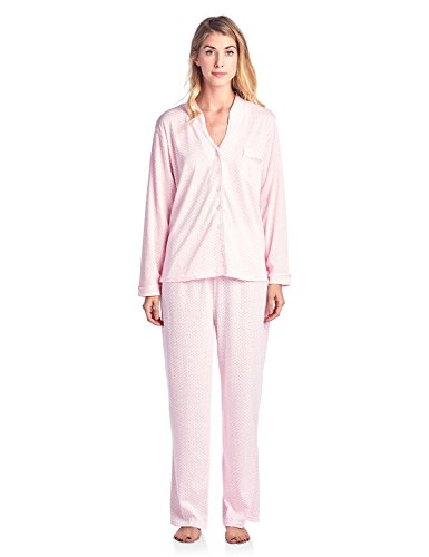 Floral Pink Trim - Casual Nights Women's Long Sleeve Floral Lace Trim Pajama Set - Pink - Large