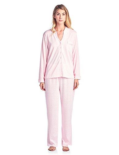 (Casual Nights Women's Long Sleeve Floral Lace Trim Pajama Set - Pink - Medium)