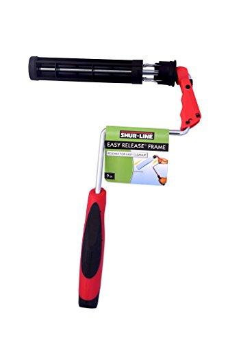 Shur-Line 8609L 9 Inch Wide Easy-Release Paint Roller Frame, Lock to Prevent Roller Slipping, Unlock for Mess-Free - Edger Frame