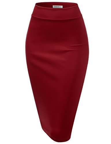 CLOVERY Women's Basic Comfort Stretch Cotton Elastic Waist Knee Length Pencil Skirt Wine 2XL Plus Size (Skirt Knee Waist Length Pencil)