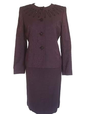 Amazon.com: KASPER Urban Chic 2PC Jacket/Skirt Suit-PURPLE ...