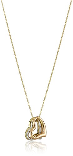- 14k Gold Tri-Tone Three Heart Pendant Necklace, 18