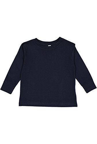 Rabbit Skins 100% Cotton Blank Toddler Football Jersey [Size 5/6T] Navy Blue Long Sleeve (Blank Toddler Shirts)