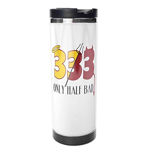 333 Only Half Bad Angel Halo Devil Double Wall Travel Mug Insulated Stainless Steel Tumbler 14 oz Coffee Cup Flask for Hot & Cold Drinks.