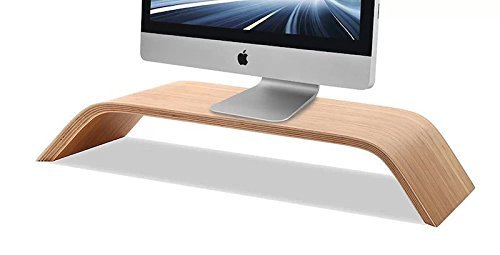 Cojoy Wooden Monitor Stand, Riser Stand, Shelf Stand for All iMac & Window PC, Free Wooden Keyboard Stand Accessories Holder Stationery for Apple Wireless Keyboard