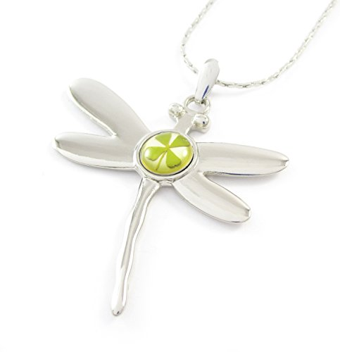Real Four-leaf Lucky Clover Shamrock Crystal Amber, Lucky Dragonfly Charm Necklace ()