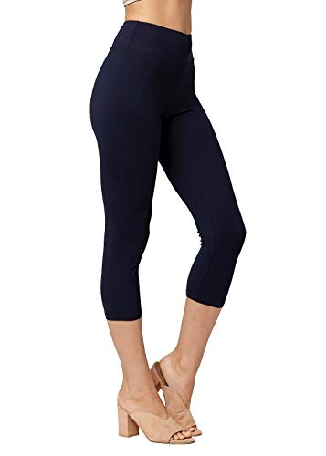 Super Soft High Waisted Leggings for Women - Capri Navy Blue - Large/X-Large (12-22) - Plus