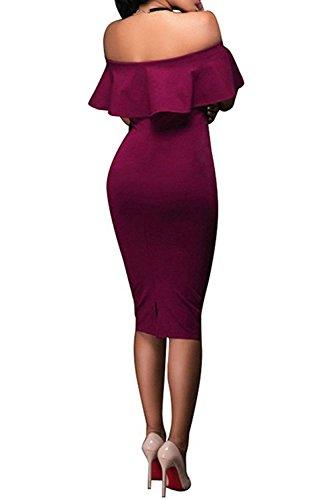 Burgundy Cocktail Club Women's Wonderoy Shoulder Ruffles Off Fitted Midi Party Dress Bodycon w4RZBgqR