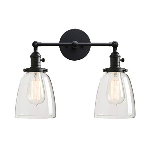 Switched Double Wall Light - Permo Double Sconce Vintage Industrial Antique 2-Lights Wall Sconces with Oval Cone Clear Glass Shade (Black)